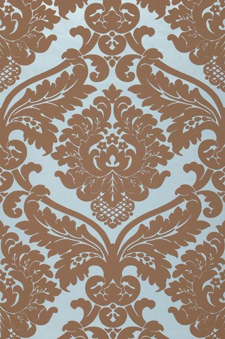 Papier peint Rajah Motif mat Surface lustrée Damassé baroque Bleu clair pastel Brun pâle