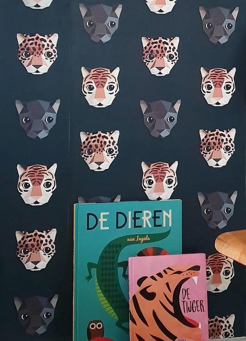 Wallpaper Panthera 02 Matt Leopards Panthers Tigers Black Anthracite Brown tones Grey blue White