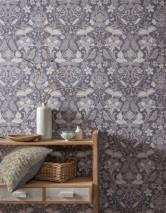 Wallpaper Leyla Matt Floral Elements Birds Slate grey  Beige Grey tones