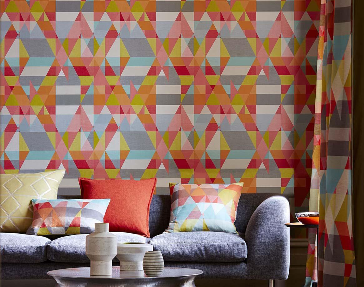 Gemusterte Tapete Streichen : Grafische Gr??e vom Bauhaus Blog Lookbook Tapeten der 70er