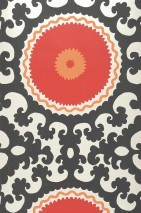 Wallpaper Aton Matt pattern Shimmering base surface Baroque elements Circles Oyster white Orange Red Black grey