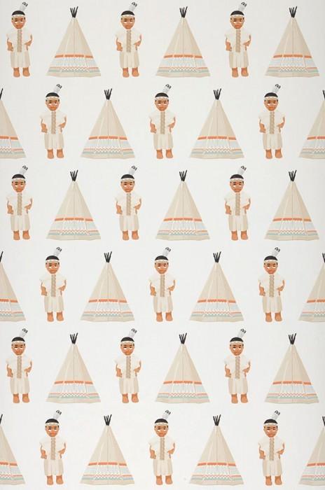 Wallpaper Indian tipi Matt Native Americans  Wigwams White Light grey beige Orange Pastel turquoise