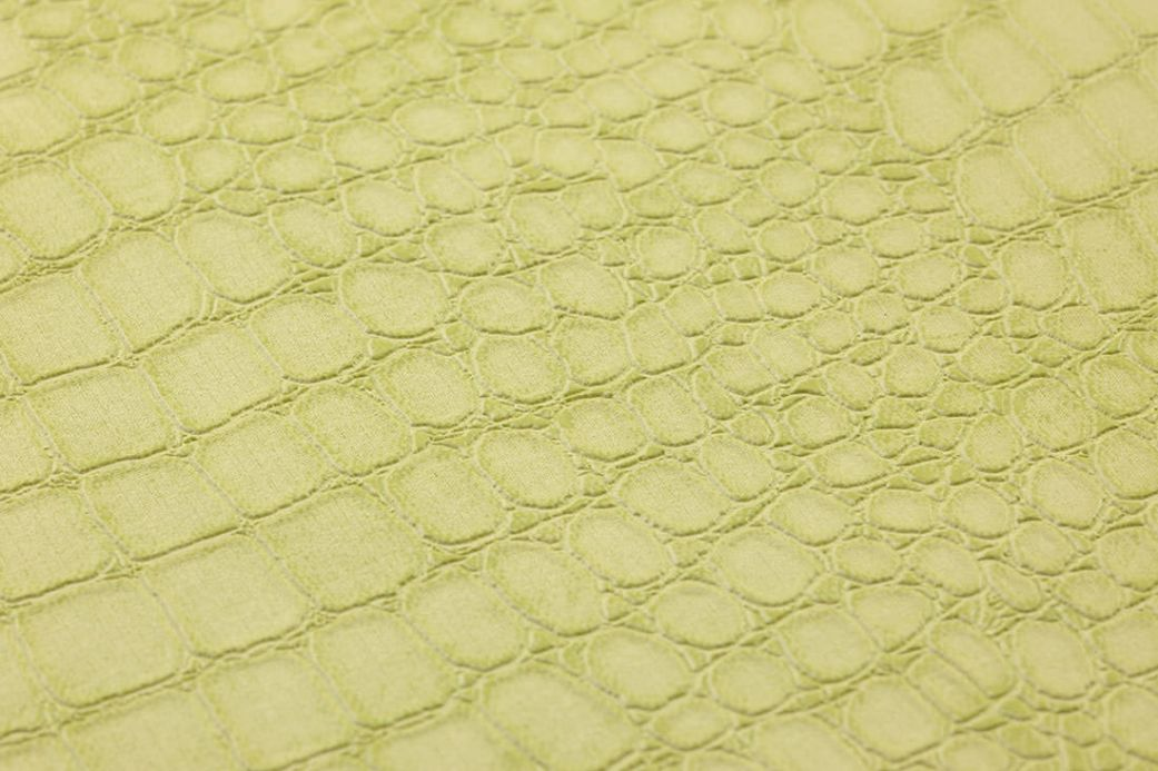Papier peint imitation cuir Papier peint Caiman vert jaune clair Vue détail