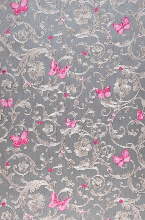 Wallpaper Glory Shimmering pattern Matt base surface Floral damask Bugs Butterflies Grey Brown white shimmer Grey brown shimmer Magenta