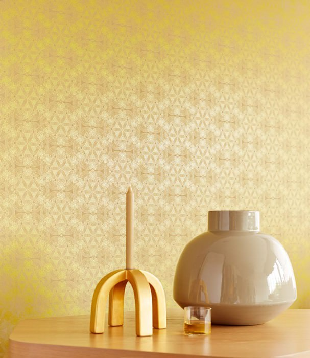 Wallpaper Imalas Shimmering pattern Matt base surface Circles Modern elements Light grey beige Yellow gold