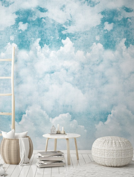 Wallpaper Asali Matt Clouds Shades of blue Blue white White