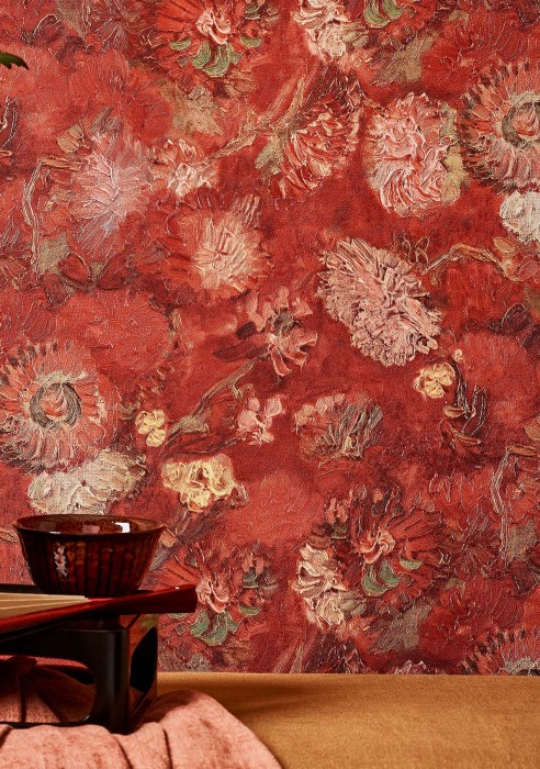 Wallpaper VanGogh Peonies Matt Flowers Blossoms Brown red Beige Green Light yellow Salmon Shades of red