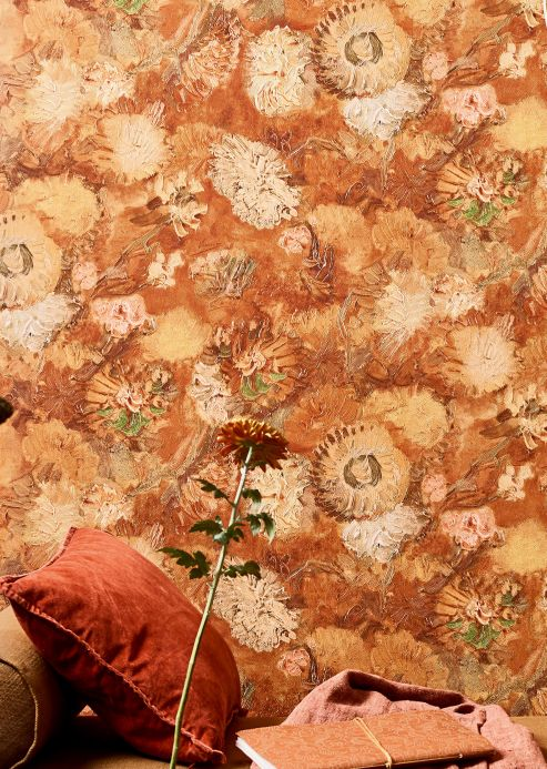 Crinkle Effect Wallpaper Wallpaper VanGogh Peonies brown tones Room View