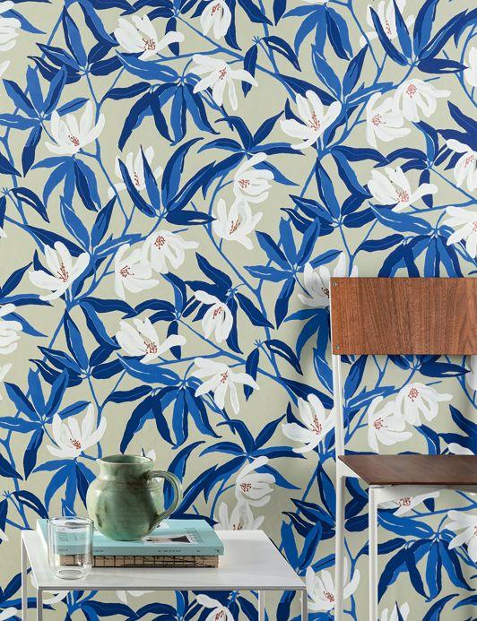 Floral Wallpaper Wallpaper Tarbana blue Room View