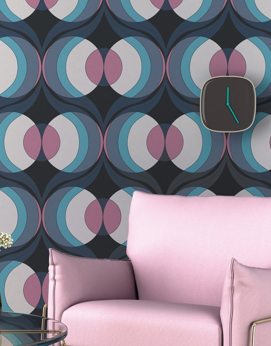 Wallpaper Talita Matt Circles Retro design Waves Anthracite Grey blue Grey white Pastel blue Rose