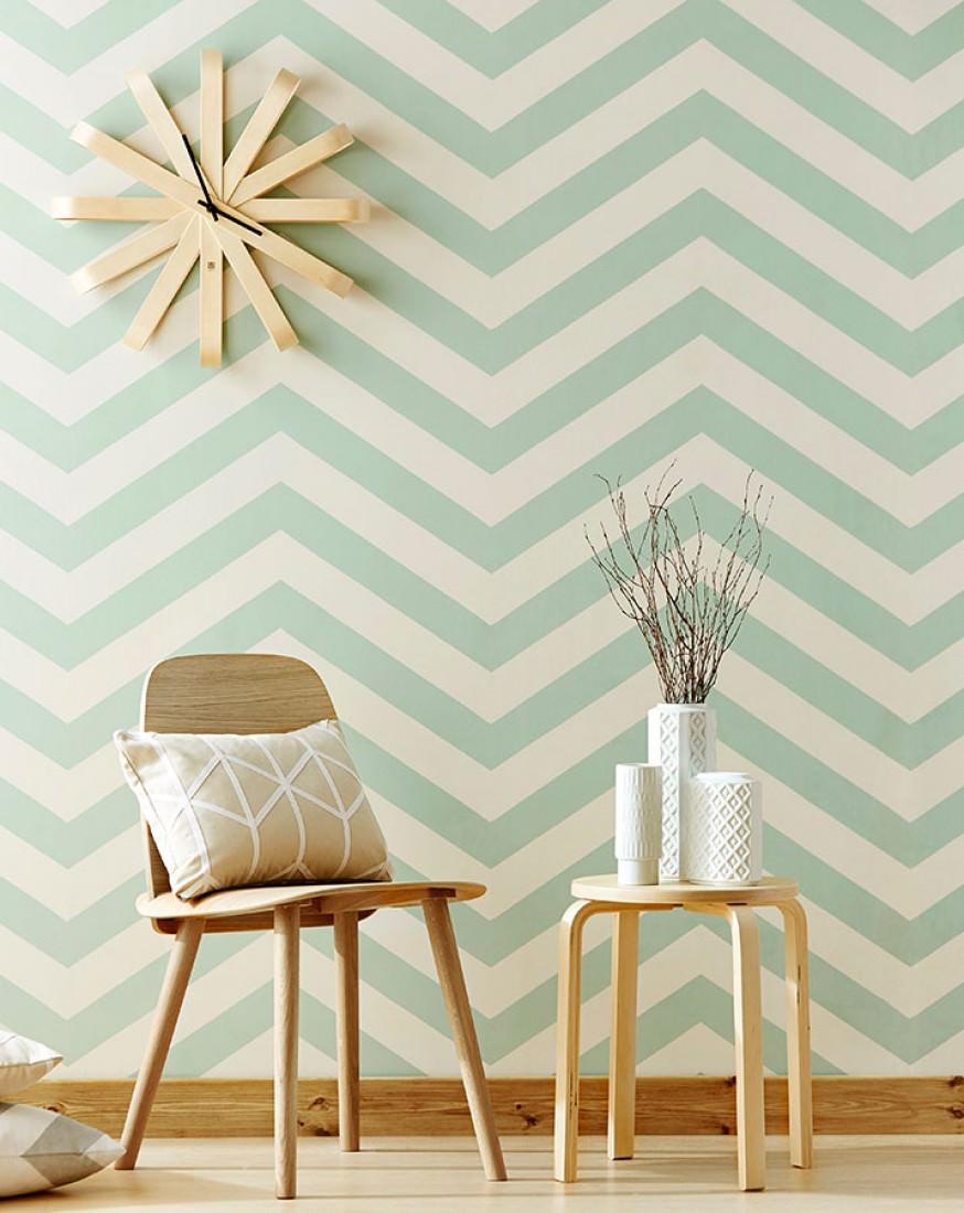 Zag zig blanco crema verde pastel papel pintado for De papel pintado