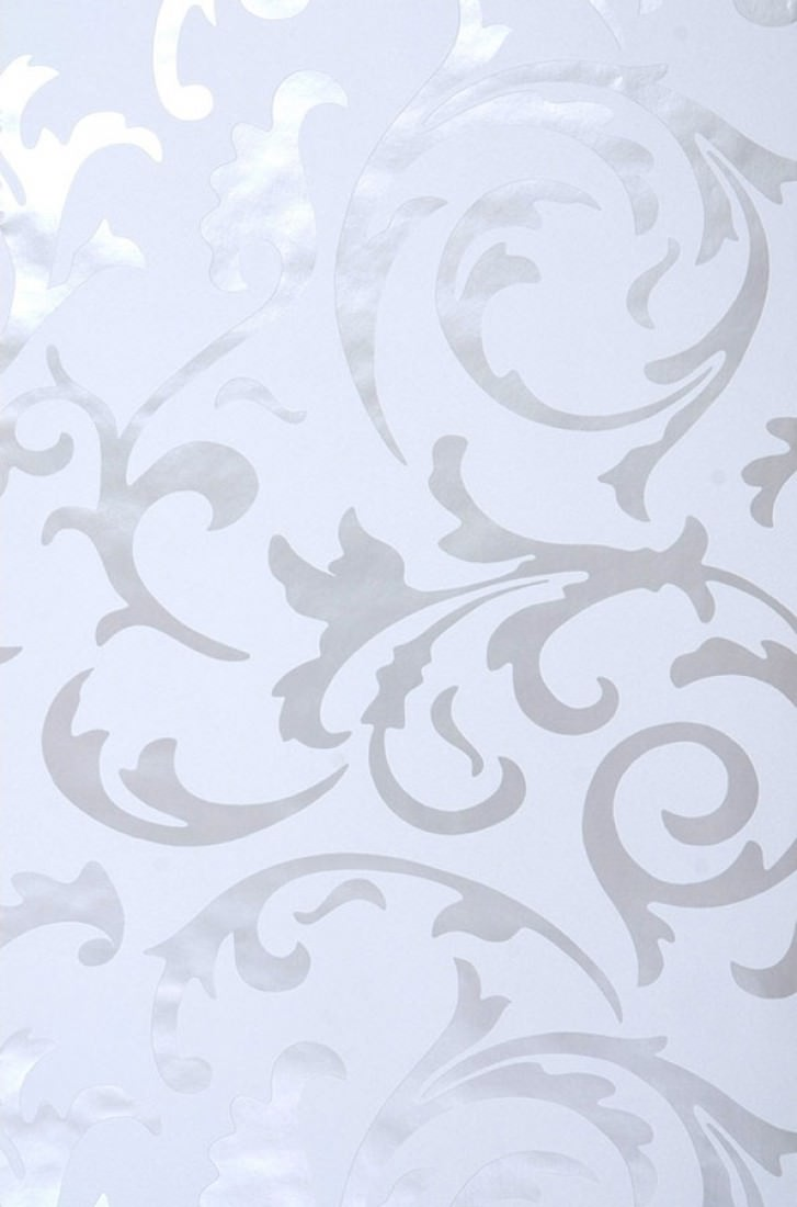 Medusa blanco gris ceo plata lustre papel pintado for Papel pintado barroco