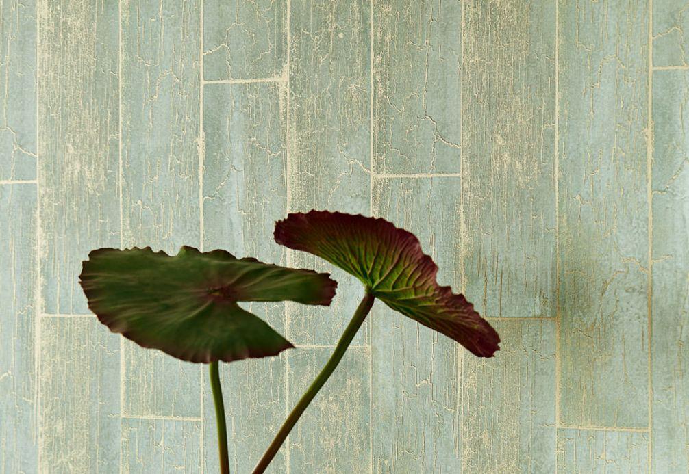 Wood effect Wallpaper Wallpaper Atoras pastel green Room View