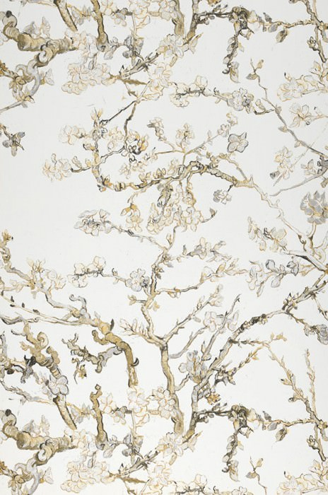 Wallpaper VanGogh Blossom Matt Branches with leaves and blossoms White Light ivory Light grey Olive yellow Black brown