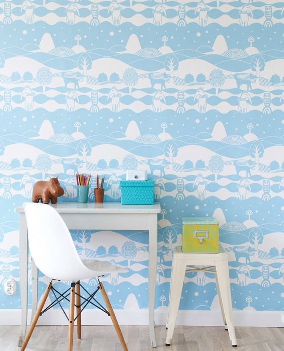 Wallpaper Himmelhav Hand printed look Matt Trees Owls Sky Hounds Landscape Sky blue White