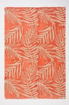 Wallpaper Lhamo Batik Style Hand-printed Matt Shabby chic Leaves Branches Red orange Beige