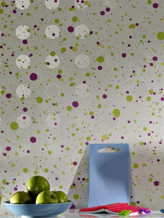 Wallpaper Dots Matt Circles Dots Cream Cream lustre Light yellow green Pink Sulphur yellow