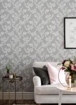 Papier peint Antonetti Aspect impression à la main Mat Damassé floral Gris clair  Blanc gris