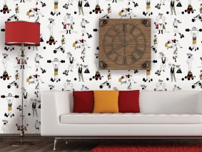 Wallpaper Strongman Matt People Words White Brown red Grey green Ochre yellow Black