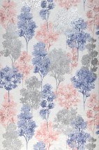 Wallpaper Namika Matt Trees Cream Red brown Silver shimmer Violet blue