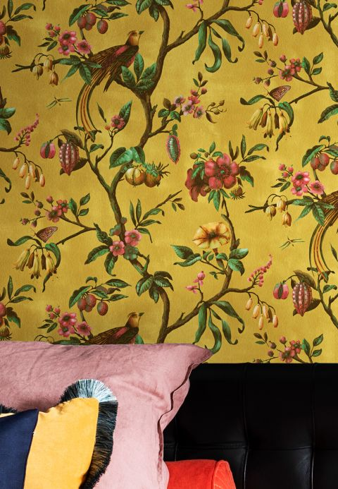 Oriental Wallpaper Wallpaper Camille light curry yellow Room View