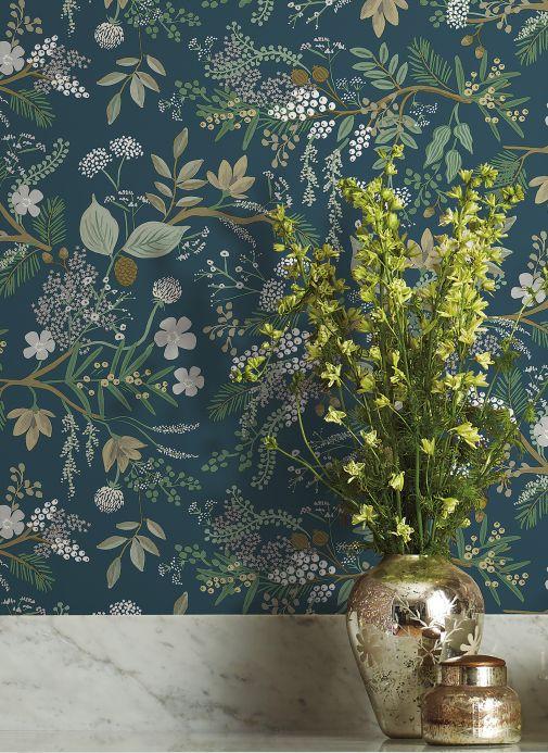 Papel de parede rústico Papel de parede Juniper Forest azul acinzentado Ver ambiente