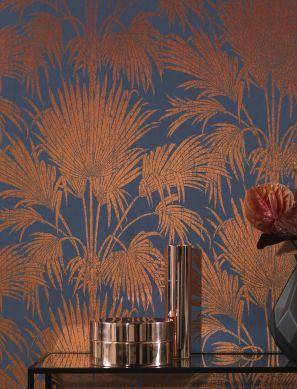 Papel pintado Lorella cobre brillante Ver habitación