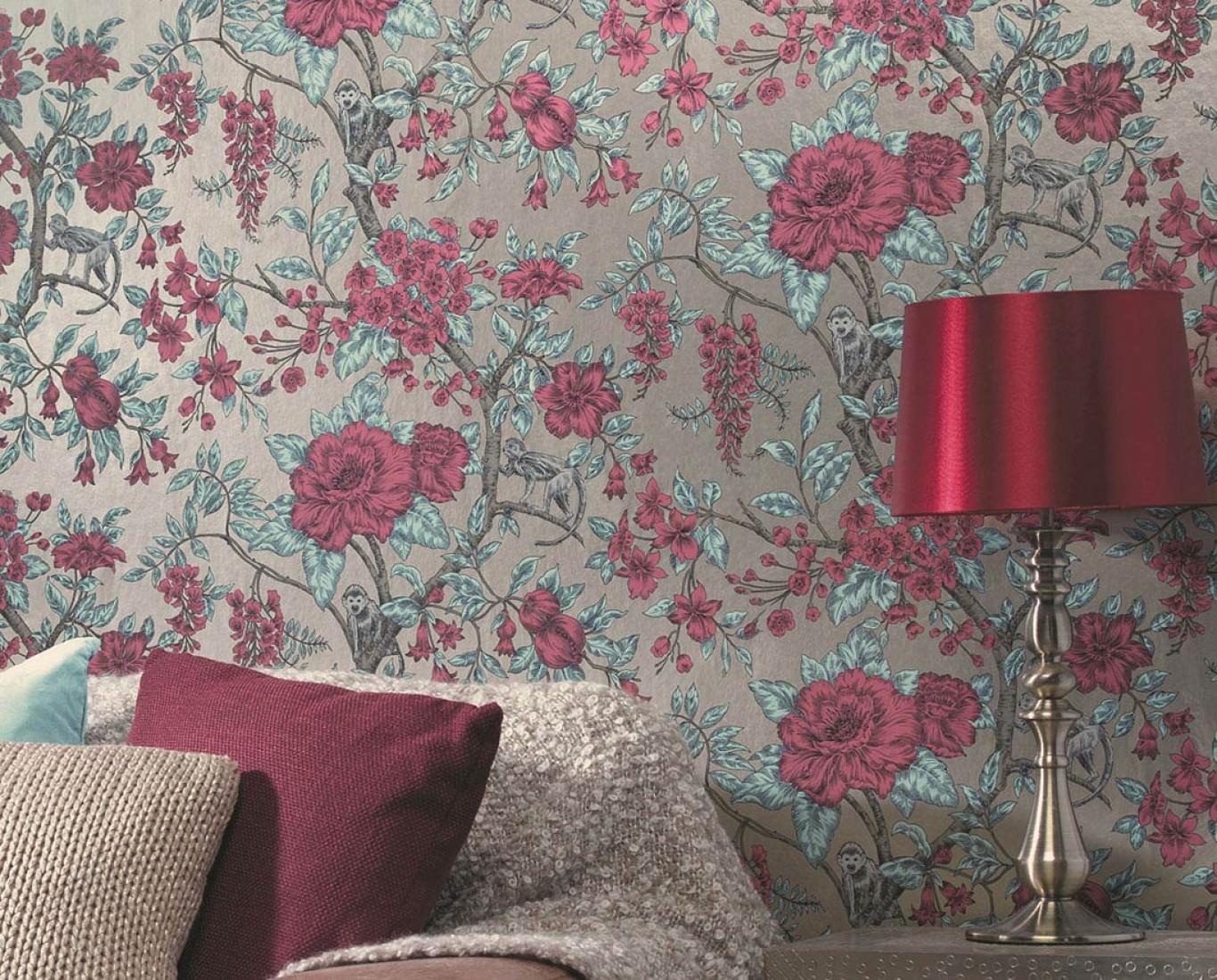 tapete soraya perlbeige gr ngrau lichtgr n rotviolett schwarz tapeten der 70er. Black Bedroom Furniture Sets. Home Design Ideas