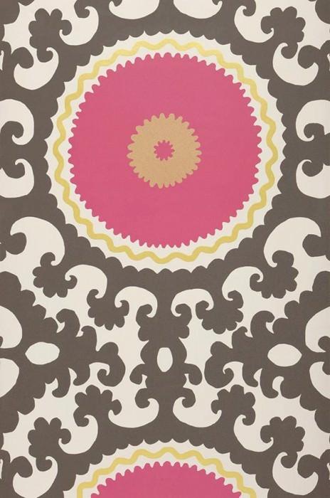 Wallpaper Aton Matt Baroque elements Circles Cream Heather violet Golden yellow Light grey brown