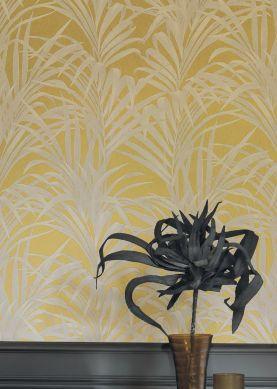 Papier peint Palmetto jaune sable Raumansicht