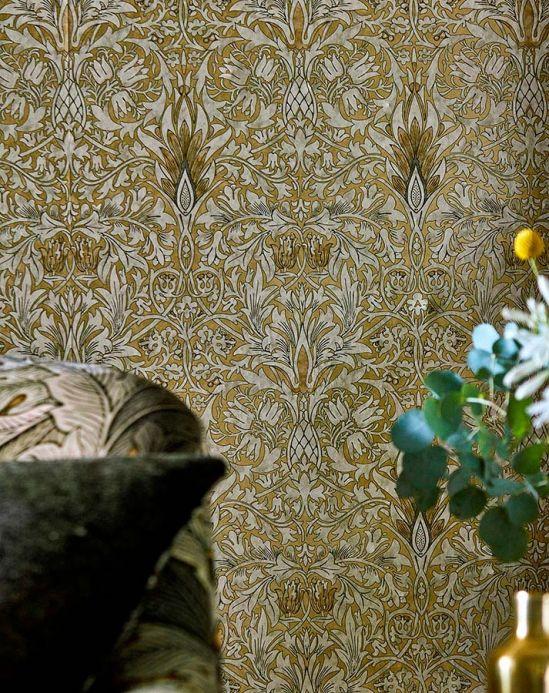 Papel de parede damasco Papel de parede Scarlett ouro pérola Ver quarto