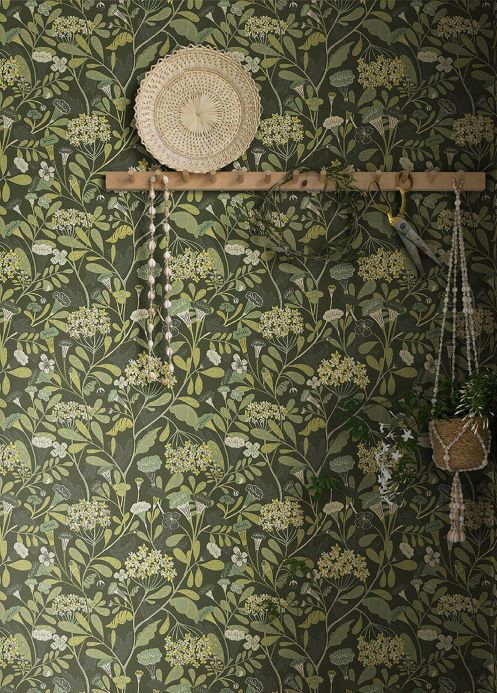 Floral Wallpaper Wallpaper Flowery grey olive Room View