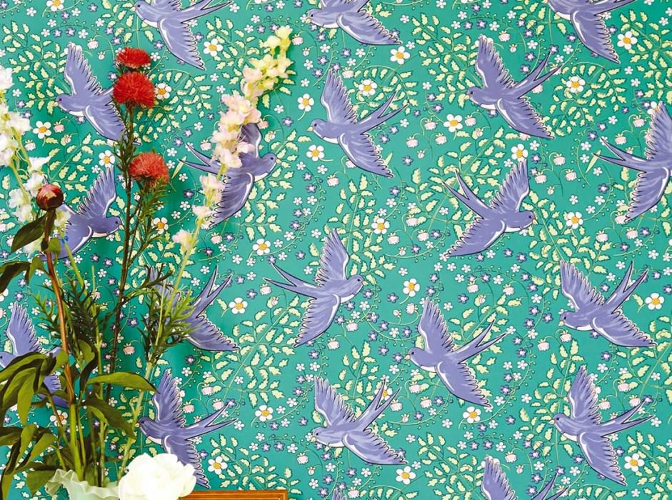 Wallpaper Marianella Matt Leaves Flowers Birds Turquoise green Blue white shimmer Light green Rose Violet blue