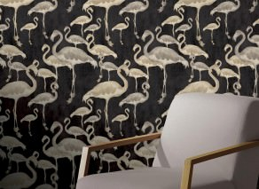 Wallpaper Amidala Shimmering pattern Matt base surface Flamingos Black Beige brown Pale brown Light ivory