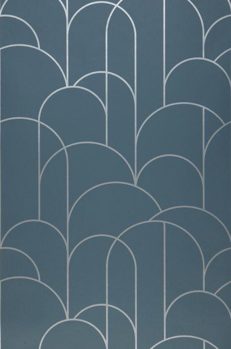 Papier peint art déco Papier peint Zania gris bleu Largeur de lé