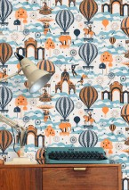 Wallpaper Rosi Matt Trees Fireworks Hot-air balloons Horses Clouds Circus performers Big Top Light ivory Light blue Orange Black