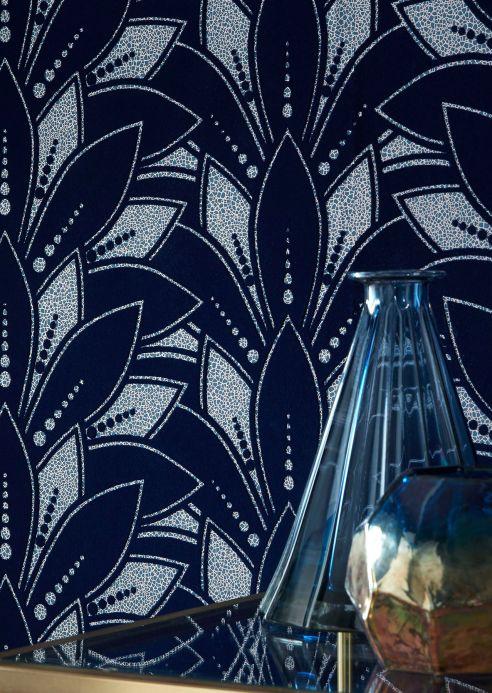 Papier peint floqué Papier peint Fadila bleu nuit Vue pièce