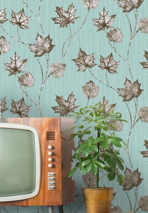 Botanical Wallpaper Wallpaper Alissa pastel turquoise Room View