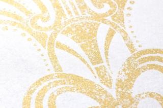 Papier peint Emilia Chatoyant Art Déco Fontaines de Champagne Blanc crème nacré lustre Or nacré