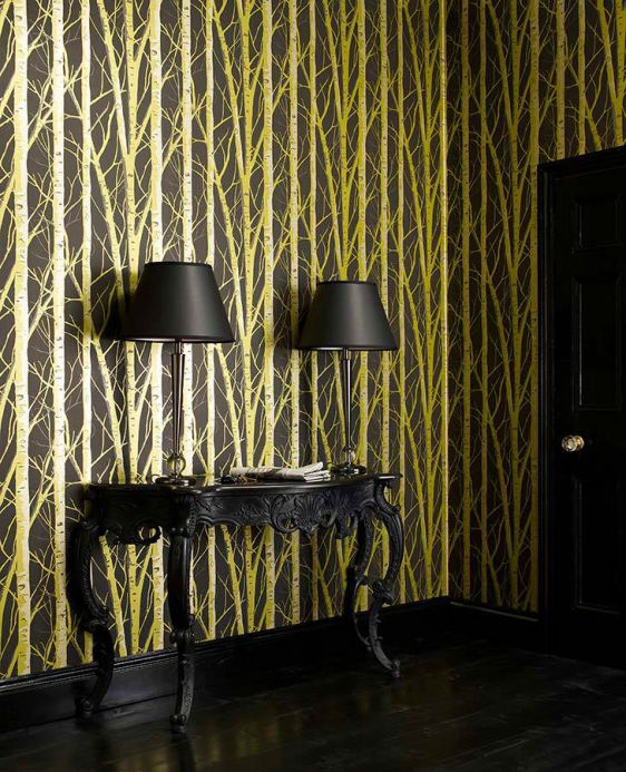 Archiv Wallpaper Diomedes yellow green pearl lustre Room View