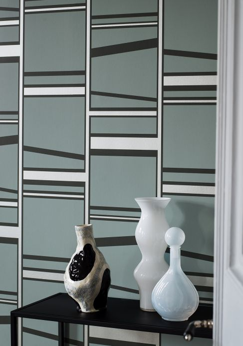 Geometric Wallpaper Wallpaper Havendale mint grey Room View