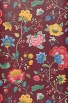 Wallpaper Belisama Matt Leaves Flower tendrils Bugs Wine red Beige grey Blue Golden yellow Raspberry red Patina green