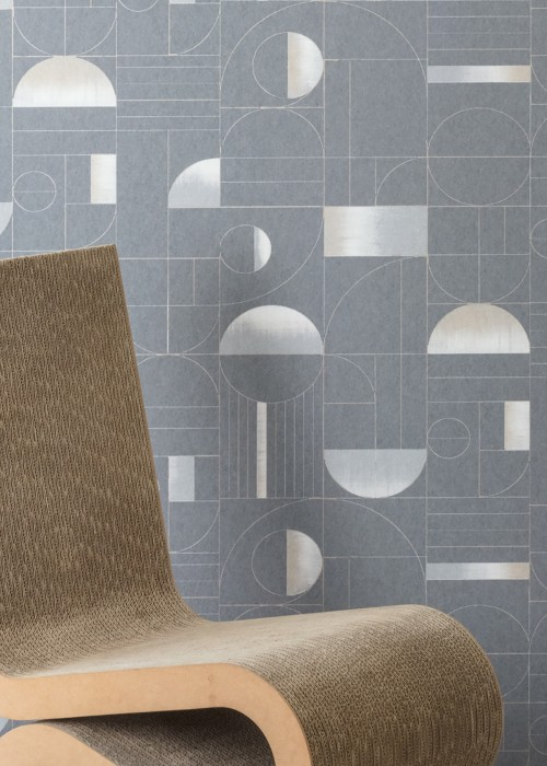 Wallpaper Duran Matt Geometrical elements Bauhaus Stil Grey Beige Cream Light grey White