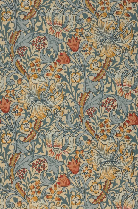 Wallpaper Wispa Hand printed look Matt Leaf tendrils Flower tendrils Lilies Cream Beige red Mint grey Ochre yellow Pastel turquoise