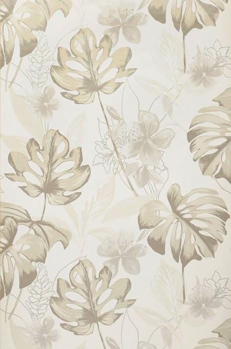 Wallpaper Ratinga Matt Leaves Blossoms Cream Beige grey shimmer Grey beige Stone grey
