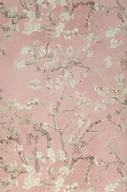 Wallpaper VanGogh Blossom Matt Branches with leaves and blossoms Pale rosewood Cream Green beige Mahogany brown Moss grey White rose