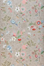 Wallpaper Carline Matt Leaves Blossoms Butterflies Birds Light beige grey Beige red Blue Khaki Red White
