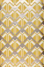 Papel pintado Nerea Patrón brillante Superficie base mate Elementos gráficos Amarillo miel Blanco Beige brillante