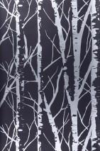 Papel de parede Diomedes Padrão brilhante Superfície base mate Árvores Preto Prata