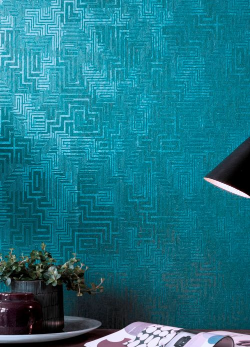 Geometric Wallpaper Wallpaper Skylark aqua shimmer Room View